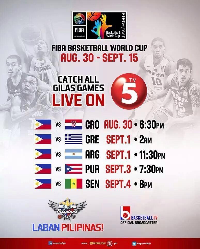 RT @PublicityAsia: Laban Pilipinas! FIBA Basketball World Cup schedule live on @Sports5PH dahil sa @TV5manila #HAPPYKaDito RT http://t.co/j?