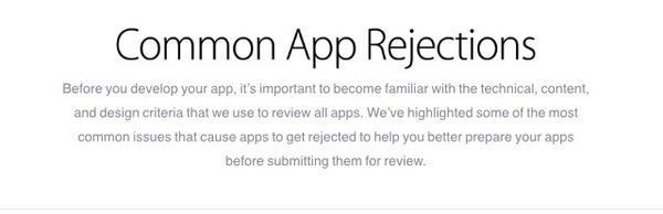 Apple opens a new page with common reasons for app rejection https://t.co/xvGEhw7BlT http://t.co/XbHSIybiJQ