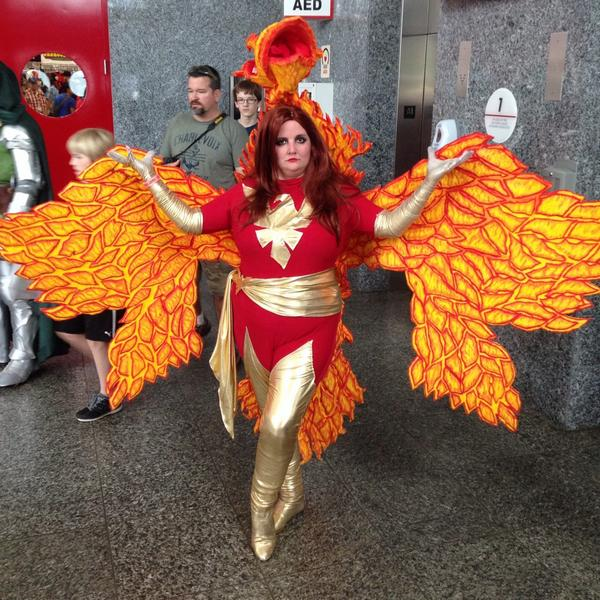 How awesome is the Jean Grey Phoenix cosplay at #AHCC!? http://t.co/Jus0NlYoTq