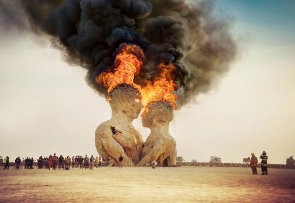 Embrace Burns - a few hours ago the first major piece of art here burned... @burningman http://t.co/3f4FQXb9jK