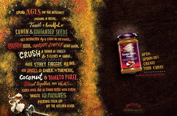 Curry paste ads made of spices - take a look here: http://t.co/VUi0dAhBnH #brand #advertising http://t.co/xypZk4ceYB