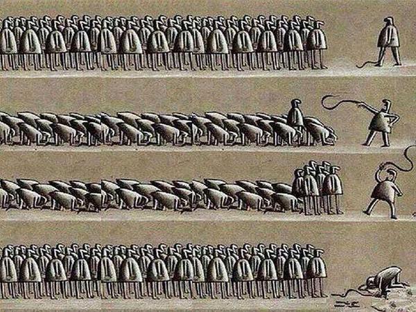 혼자 저항을 하면 뭇매를 맞지만, 같이 저항을 하면 잔매를 맞고, 모두 저항하면 때리던 자가 몰매를 맞는다. 그러나 저항하지 않으면 맞는게 습관이 된다. http://t.co/LDtDWNOfOZ