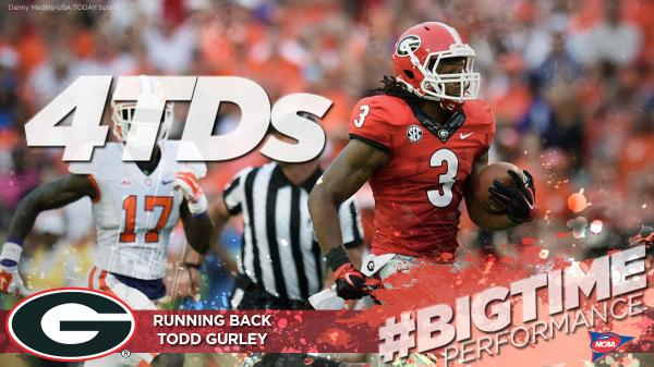 Todd Gurley comes up HUGE for @FootballUGA! #ncaaFB http://t.co/bmFboRM7lj