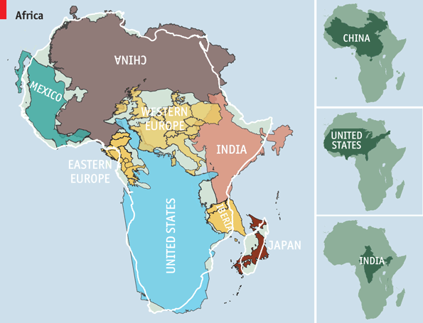 Africa is bigger than the US, China, India, W. Europe - combined  アフリカ大陸の実際の大きさ:米中印西欧の合計よりも大きい http://t.co/oLqA1oEhPQ http://t.co/cFwx4FZm0D