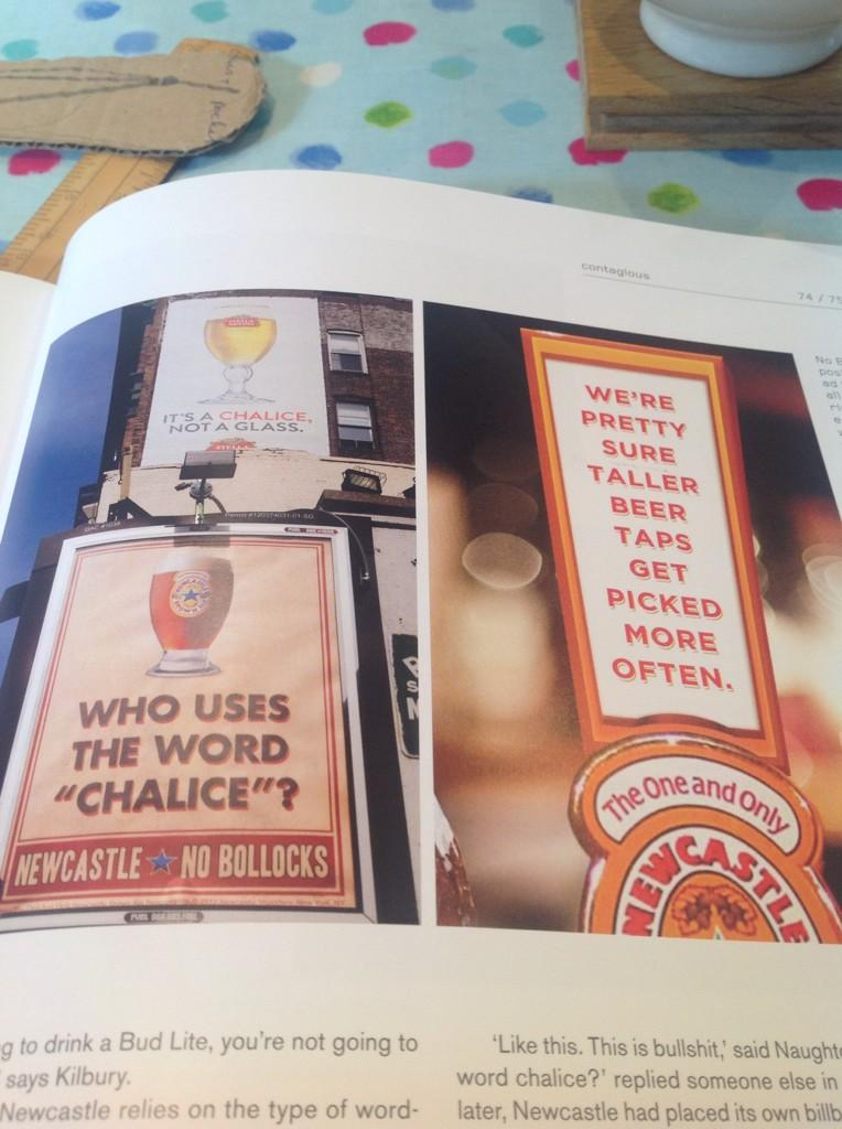 """RT @Thompson_Ant: Loving @contagious piece on @Newcastle #nobollocks campaign... who does use the word """"chalice"""" @StellaArtois ? http://t.c…"""