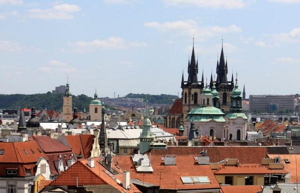 #Prague with its red roofs and t