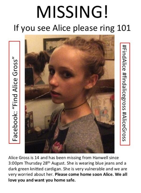 Updated #AliceGross poster. Keep up the good work Ealing community. Pls call 101 with any info #FindAlice. http://t.co/tFF3w9Bxx5