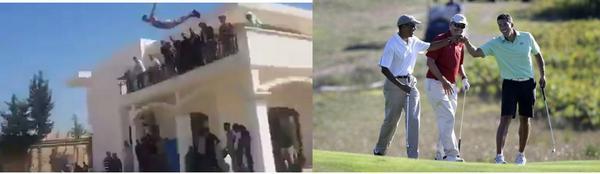 Obama golfs as US Embassy in Libya is taken