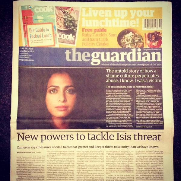 Thx to the Guardian for placing my op-ed on their front page.We have to challenge the taboos&tackle abuse everywhere http://t.co/Kc9DWv3Iq6