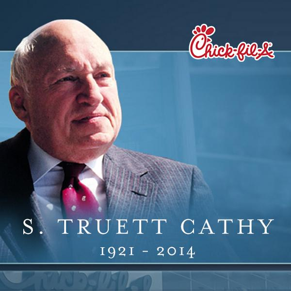 Grieving the loss of our founder Truett Cathy, who passed away today. Please keep the Cathys in your prayers. http://t.co/6LnjkysI8l