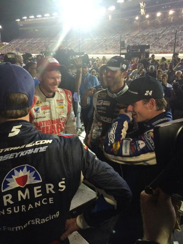 All four @TeamHendrick drivers in Victory Lane. Very exciting night!!! http://t.co/T8r4ii6eSt