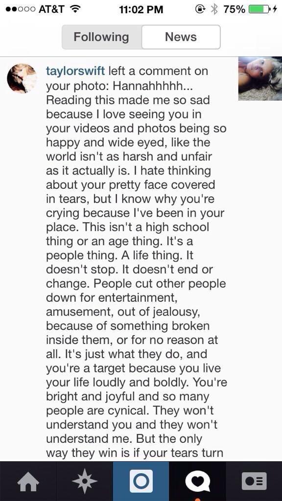 Taylor Swift writes an inspiring note on Instagram to a bullied fan