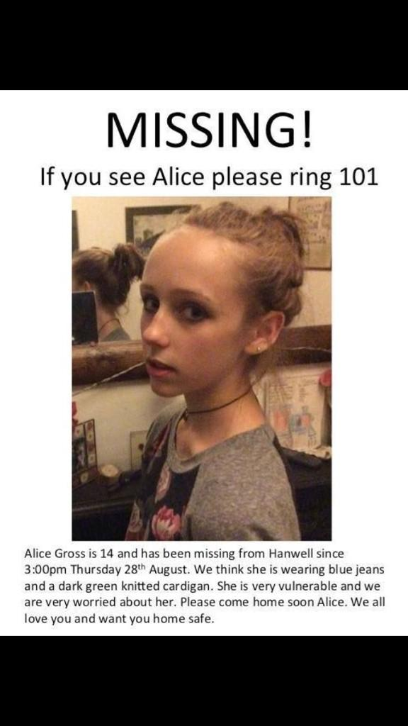RT @vickstervicki: @RealDeniseWelch please retweet & help us find Alice. Missing since Thursday #UK #Hanwell #FindAlice @findalicegross htt…