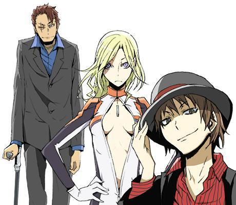 新規ビジュアル第8弾!新キャラ3人登場!右から、六条千景さん、ヴァローナさん、赤林さんです!皆様はじめまして!どうぞよろしくお願いします。(ANX P横山) #drrr_anime