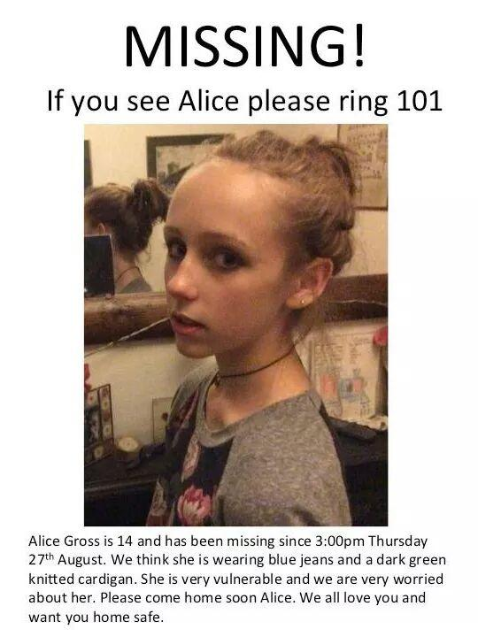 RT @frau77: @sueperkins #FindAlice #london #uk #hanwell pls rt and help find Alice 14 missing since thursday http://t.co/pXfNjDw9Ve