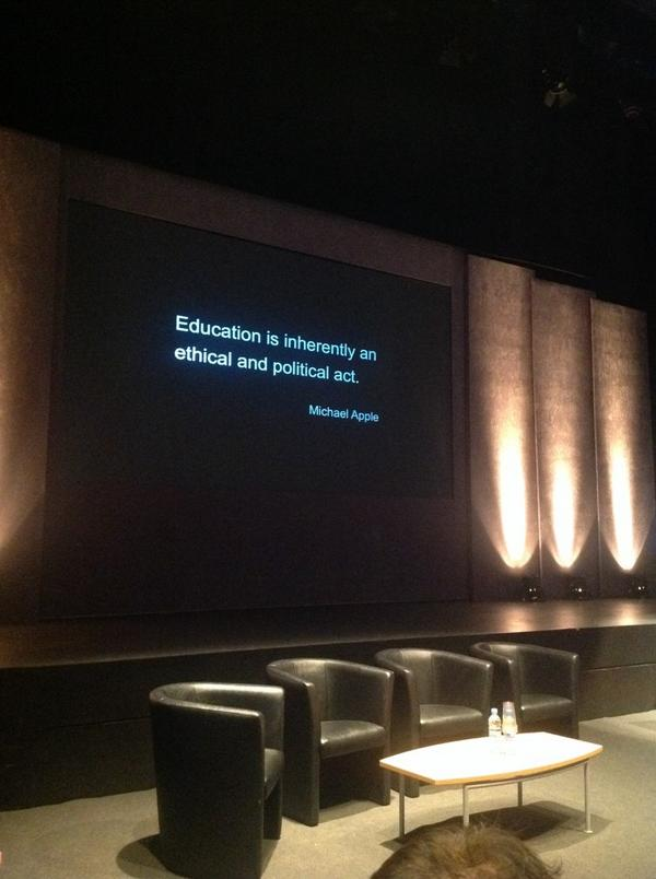 Lovely quote from Michael Apple. This is one for you, @jnyrose #altc Inspirational stuff. http://t.co/3jJd2IXcp1