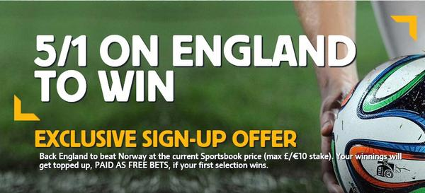 SPECIAL OFFER: England are 5/1 to beat Norway at Wembley [Enhanced Odds]