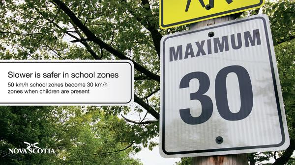 Slower is safer: Just a reminder that 50 km/h school zones become 30 km/h zones when children are present. http://t.co/6Z54viFrUm
