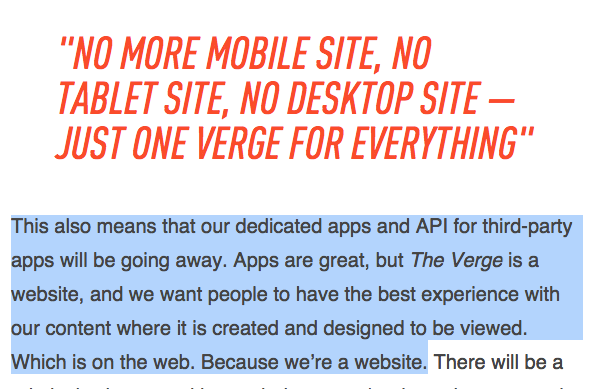 The Verge goes all-in on responsive web and is nuking their native apps: http://t.co/pnSaRExBFp http://t.co/XVPUque7HB