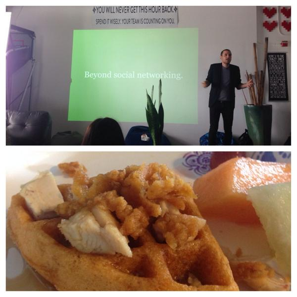 Great @WovenCo pres @LiveNinjaKatana #wafflewednesday! #startup #tech #wynwood #miami @myqroft #chickenandwaffles http://t.co/0Cpzn52oJL