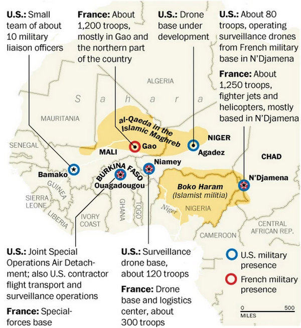 Mark Anderson On Twitter Map Showing Us French Military Bases Hosting Drones Soldiers Fighting Bokoharam Aqim Via Atwashingtonpost