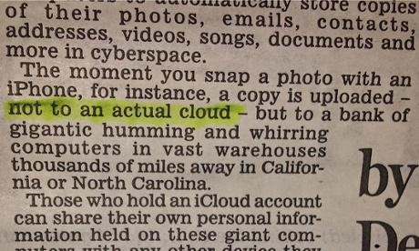 GIGANTIC HUMMING COMPUTERS RT @guardian: Daily Mail informs readers iCloud is not an actual cloud http://t.co/OcEe53MfEO