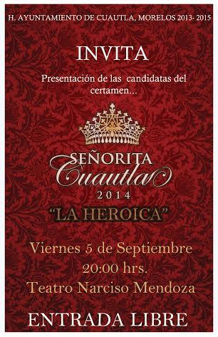 Presentación @SenoritaCuautla #LaHeroica |Teatro Narciso Mendoza | 5 de Septiembre 2014 | 20:00 hrs | ENTRADA LIBRE| http://t.co/x3BoCXCFAX