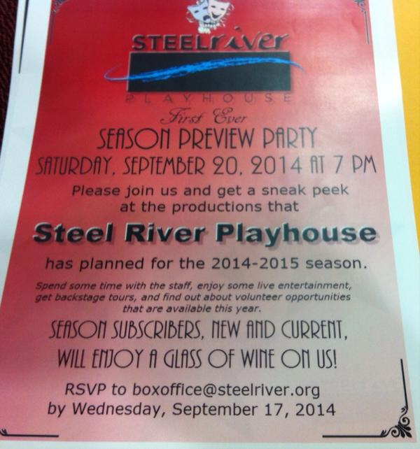 Here's the announcement for Steel River preview party. @MercuryX http://t.co/ldaxylE1jp