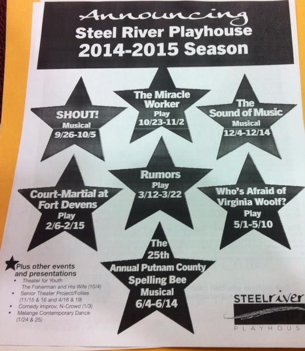Here are this season's shows @ Steel River. @MercuryX http://t.co/cvcc8iWYzo