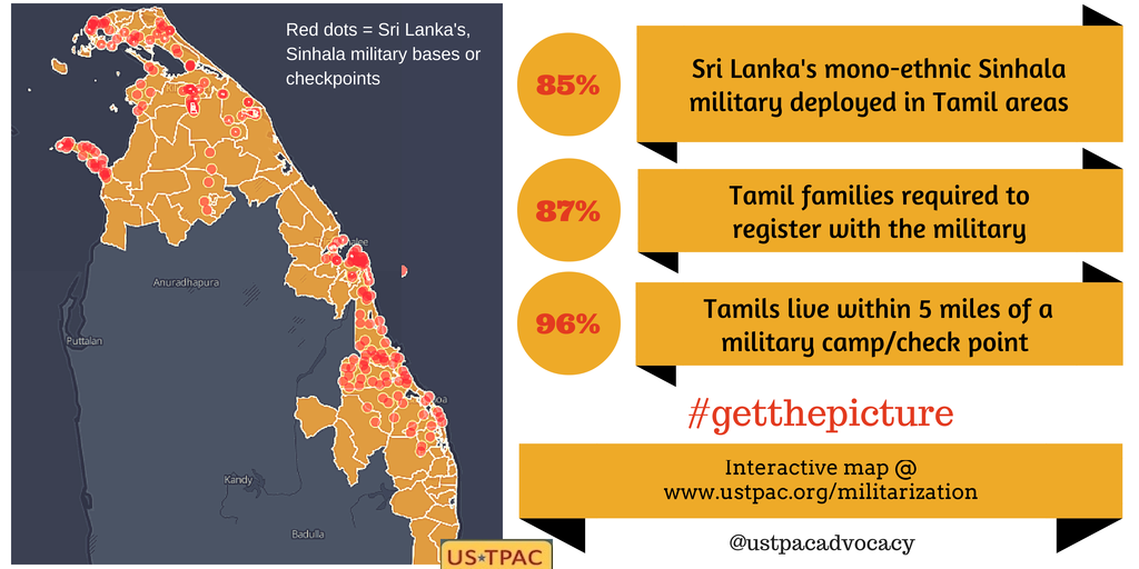 Sri Lanka militarization in North East Tamil areas USTPAC interactive map