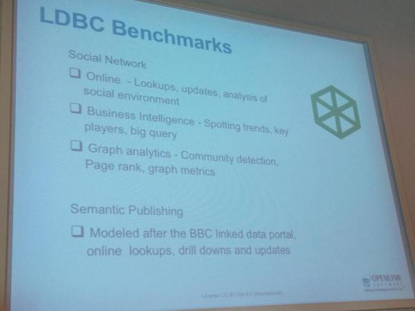 Stressing out #linkeddata performances with LDBC Benchmarks. Interesting to see @OpenLink on stage at #semantics2014 http://t.co/pP61FDSCEl