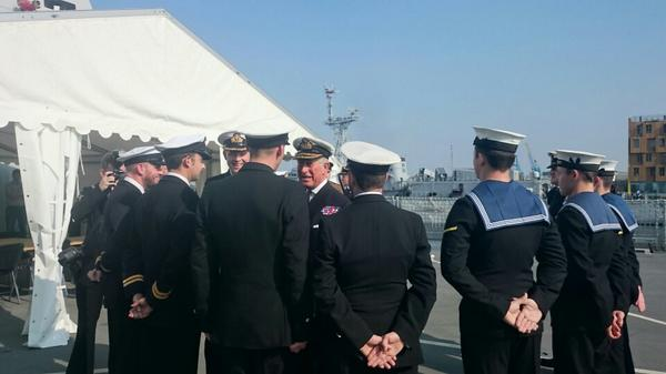 The Prince of Wales, Admiral of The Fleet, meets crew members on HMS Duncan #NATOSummit2014 http://t.co/DUKhbw1b7c