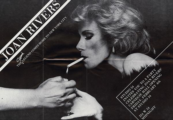 Today we lost the legend #JoanRivers -check out this poster from Studio 54 in 1983 - found in Warhol's Time Capsule: http://t.co/s7hQL8a0Je