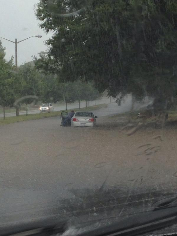 Car totally flooded on Morrison Blvd in SouthPark. Traffic stopped all over the area. #cltnews #cltwx @wxbrad http://t.co/Ke7pWyflaH