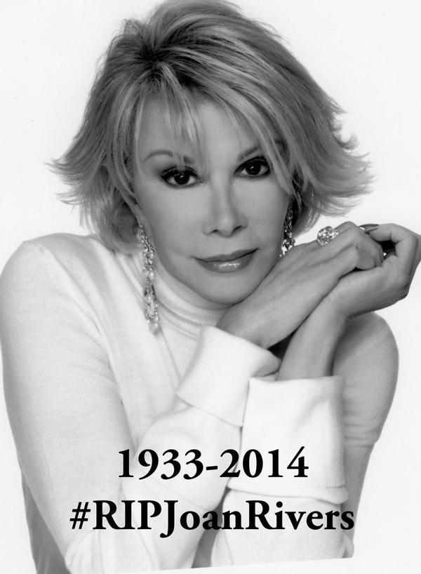 The world just got a little less funny. My sincerest condolences to the @Joan_Rivers family. #RIPJoanRivers http://t.co/JjNRKcAXFH