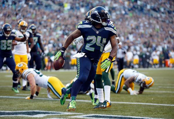it s raining skittles in seattle beast mode with another touchdown