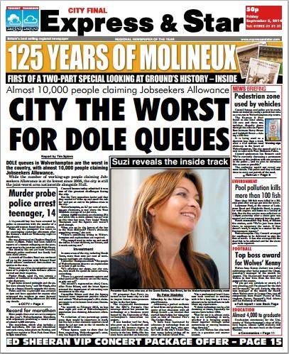 #CityFinal p1: #Dole queues in #Wolverhampton are worst in country, with almost 10,000 people claiming #JSA http://t.co/3UAMC1ychy