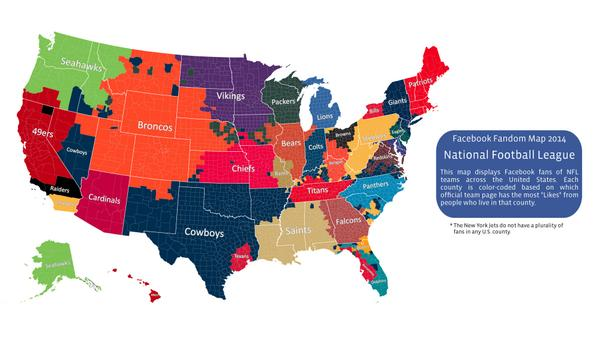 NFL On ESPN On Twitter A Map Of The United States Divided By - Divided us map