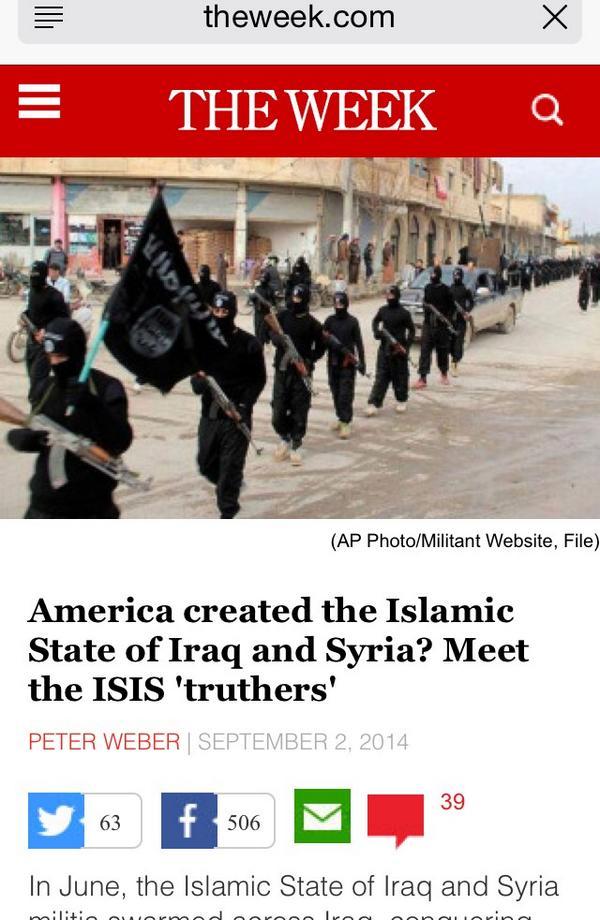 """مقال بيتر ويبر في مجلة """"ذا ويك"""" مهم جداً الاطلاع عليه، والكاتب تطرق لعدة نظريات لمؤامرة داعش كلها مرتبطة بالغرب http://t.co/D2CB2Y6Ark"""