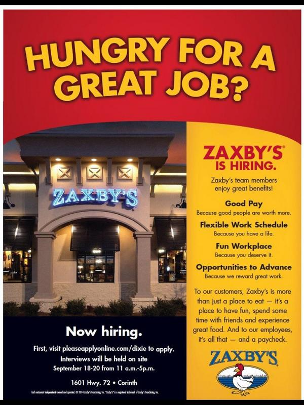 """Zaxby's Corinth MS on Twitter: """"Don't forget, we are still hiring ..."""