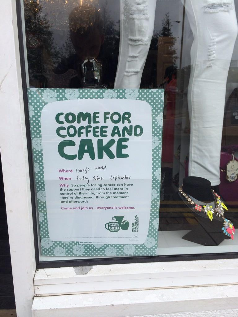 Friday 26th of this month, come to @HarrysWorld_ as we are raising money for Macmillan Cancer Support! Coffee & Cake http://t.co/06RuFvNQKU