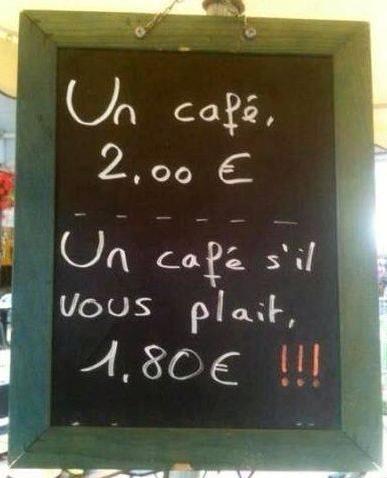 【シルヴプレで割引】 (眉_眉*)<コーヒー。 ζリ*´点`)<2ユーロ。  ( ´͈ ᐜ `͈ )৩<コーヒーください。 ζリ*´点`)<1.8ユーロ!