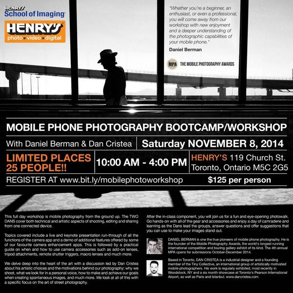 Hey Toronto! @K0NSTRUKTIVIST & I are holding a Mobile Photo Workshop at Henry's Camera Nov. 8 http://t.co/YQyyyrDmLg http://t.co/GfuJvNP80Q