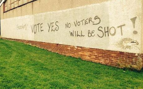 'No-voters will be shot': worrying. 'No voters will be shot': *technically* reassuring, if not redundant.  #hyphens   http://t.co/Sxgqo6pHE0