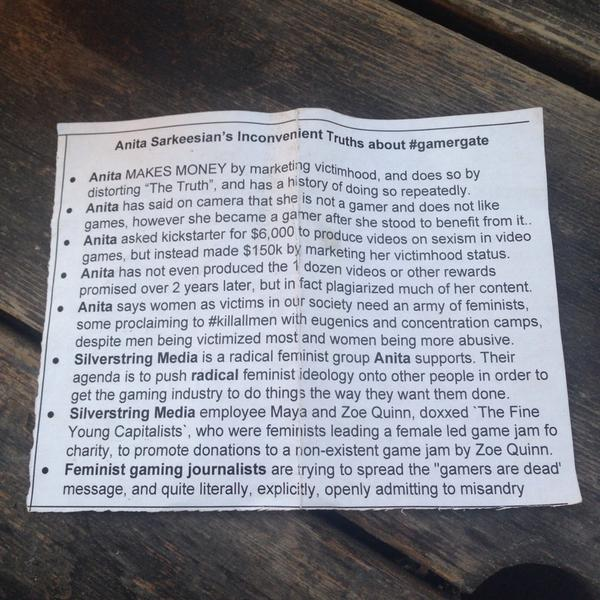 "The ridiculous pamphlet ""about"" @femfreq from that guy who showed up at #xoxofest & tried to force it on attendees. http://t.co/fuRf1WLwZn"
