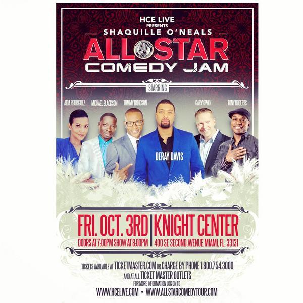 Miami! Oct 3 @DeRayDavis @garyowencomedy @TonyTRoberts @tommycat @MichaelBlackson @FunnyAida @BigTiggerShow http://t.co/c0gNYhtwsv