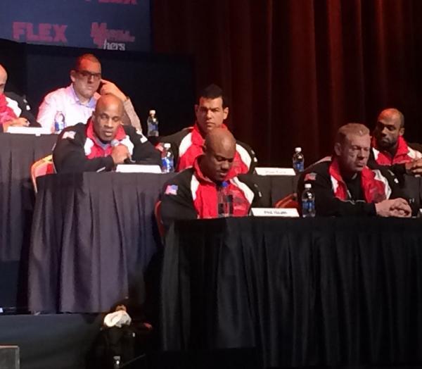 @PHILHEATH Dennis Wolf @IFBBVicMartinez @SteveKuclo and @ifbbjondelarosa at the #50thOlympia press conference http://t.co/dwGJeXLrLV