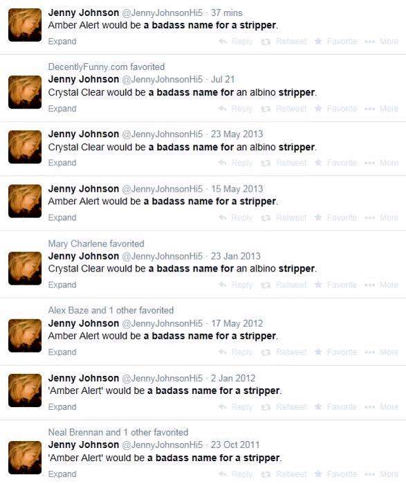Jenny Johnson On Twitter Amber Alert Would Be A Badass Name For A Stripper
