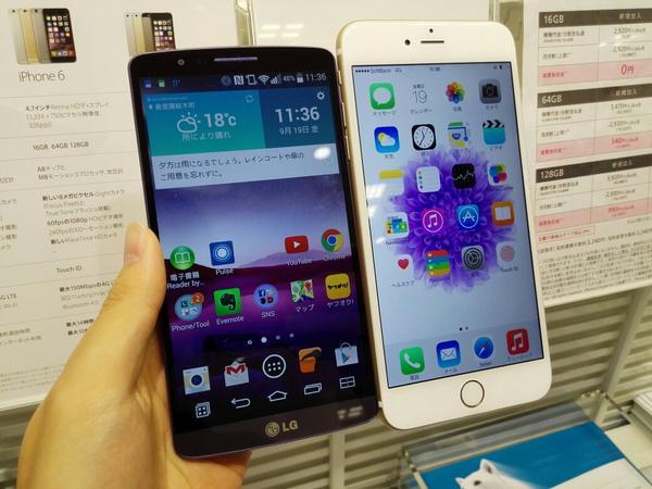 iPhone 6 Plusと同じ画面サイズのLG G3と並べてみた。6 Plusでかすぎ… http://t.co/Z9NGbRQCqF