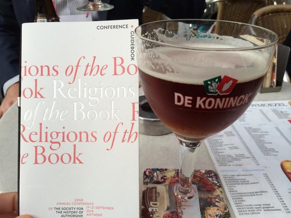 Enjoying a local Antwerpen beer after #sharp14 last night http://t.co/L7ohStYivE